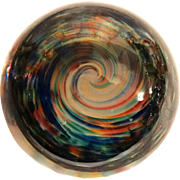 REDUCED Paperweight With Whirlpool of Colors, Signed/Dated Chris Belleau 1992.