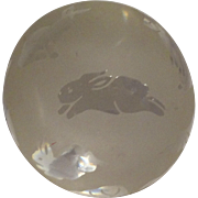 "REDUCED Clear and Frosted ""Bunnies"" Paperweight, Signed Arthur Court"