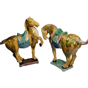 REDUCED Pair Of Chinese Tang Style Pottery Horses