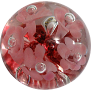 REDUCED Paperweight With Pink Trumpet Flowers Over Crimson Smaller Flowers And Leaves - Signed
