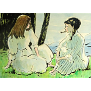 ANDRE CHOCHON French (1910-2005) Signed Original Watercolor On Paper - Girls Seated On The ...