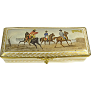 Antique French Porcelain Hand-Painted Glove/Dresser Box; Artist signed Garnier; Makers mark on