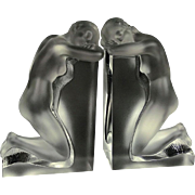 "REDUCED Pair Lalique ""Reverie"" Signed Nude Crystal Bookends, Listed"