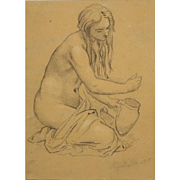 "MORITZ MULLER THE YOUNGER, German (1868-1934) Original Pencil Drawing on Paper ""Female Nu"