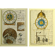 "Two (2) 19th Century Manuscripts Hand Decorated with Later Watercolor ""Clock Works"""