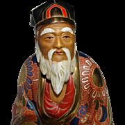 REDUCED Japanese Satsuma Gilt Hand Painted Pottery Seated Elder Figure.