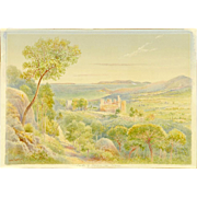 "LEESON ROWBOTHAM (British 20th Century) Original Signed Watercolor - ""Castle of Bormes, F"