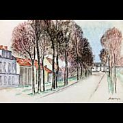 "REDUCED LEOPOLD SURVAGE (Russian/French, 1879-1968) - ""Paris Street Scene"" - Origina"