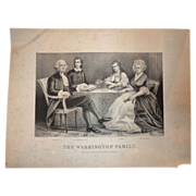 "REDUCED Currier & Ives Antique Print  (Lithograph) - ""The Washington Family"" c 1"