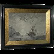 REDUCED Original Fine Ink Wash, Coastal Landscape, Signed and Dated, PW Brunt,  1912
