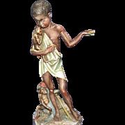 REDUCED Borsato - Native Boy With Monkeys - Very Unique Multi-Figural Sculpture