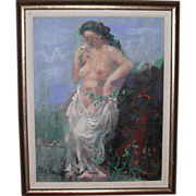 """REDUCED Byron Browne (1907-1961) - Well-listed Artist - Original Oil On Canvas - """"Muse"""""""