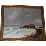 REDUCED Antique Original Oil on Canvas, Signed, Primitive New England Coastal Painting, c 1893