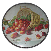 REDUCED Antique German Flue Cover, Victorian - Overturned Basket Of Cherries