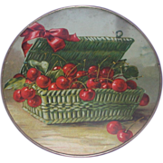 SALE Antique Victorian Flue Cover - Basket Of Cherries