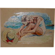 "REDUCED Original Oil On Artist's Board - ""Sunbather With Hat"" -Signed, c 1960"