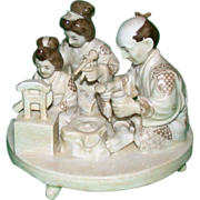 REDUCED Unusual Porcelain Figural Group Of A Japanese Family, Signed - From the Birkhauser ...