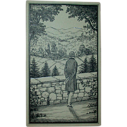 "REDUCED Original Ink Drawing ""A Beautiful View"" by Erich Simon, Signed, c 1910"