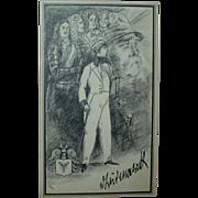 """REDUCED Original Ink Drawing """"Otto von Bismarck"""" by Erich M. Simon, c. 1910"""