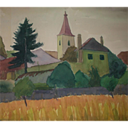 """SOLD Original Watercolor - """"The Village"""" - by Viennese Secessionist, Listed Artist R"""