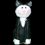 SALE Darling Folk Art Primitive Hand-Carved Hand-Painted Wood Cat