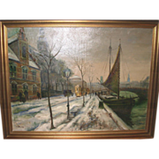 REDUCED Oil On Canvas - Street Scene by Listed Danish Artist Ove Svenson