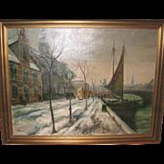 REDUCED Oil On Canvas - Street Scene by Listed Danish Artist Ove Svenson