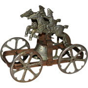 REDUCED Antique Tin Toy Wagon With Bell, Two Riders On Horses