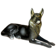 REDUCED German Shepherd, Alsatian, Porcelain From Hungary