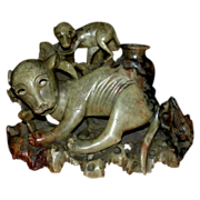 REDUCED Fascinating  Asian Hardstone Carving Of Dog-Like Animals
