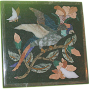 REDUCED Lovely Antique Pietra Dura - Tropical Bird with Flowers and Butterfly
