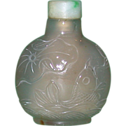 REDUCED Masterfully Carved Antique Chalcedony Snuff Bottle, c between 1820 and 1880