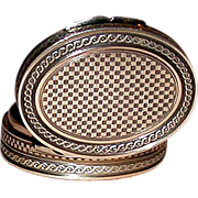 REDUCED EXCEPTIONAL French Silver Gilt Patch Snuff Box and Mirror, c 1850