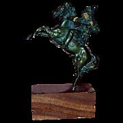 REDUCED Kauba - Magnificent Signed Bronze Indian On Horseback - c 1920