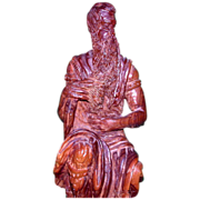 "REDUCED Well-Carved Wood Sculpture - ""Moses"" - From Israel, c 1970"