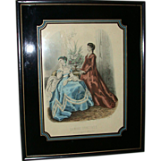 "REDUCED Antique Hand Colored Engraving ""La Mode Illustree"" - Heloise Leloir - Paris,"