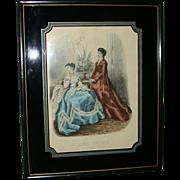 """REDUCED Antique Hand Colored Engraving """"La Mode Illustree"""" - Heloise Leloir - Paris,"""