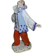 Marvelous Signed Bohemian Porcelain Figure of Pierrot, c. 1920