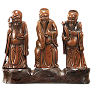 REDUCED Set Of Three Finely Carved Wood Chinese Star Gods