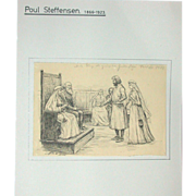 REDUCED Original Antique Drawing by Poul Steffensen (1866-1923), Signed and dated 1900
