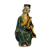 Chinese Mudman Seated Figure of Han Xiang Zi With Bamboo Flute, Symbolic of Giving Life, Circa