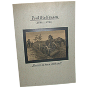 REDUCED Poul Steffensen (1866-1923) - Original Pencil and Watercolor Drawing on Paper -  -Circ