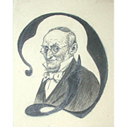 "Poul Steffensen (1866-1923) - Antique  Decorative Initial ""D"" Portrait Of A Man,  c"