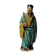 Chinese Mudman Standing Figure Of the Immortal, Han Xiang Zi, With Flute (Immortality), Circa