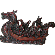 Very Well-Carved Rosewood Chinese Dragon Boat With Multiple Passengers