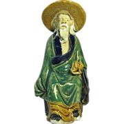REDUCED Chinese Mudman Seated Sage With  Peach (Symbol of Long Life) and Hat, Circa 1920
