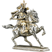 Silvered And Gilt Iron Samurai Equestrian, Vintage