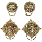 REDUCED PAIR Of Asian Metal Drawer Pulls or Door Knockers With Fantasy Beasts' Heads, Vintage