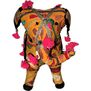 SOLD Adorable Gaily Decorated Fabric Elephant From India, Circa 1975
