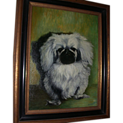 "REDUCED Oil On Canvas - A. Cleiva - ""Pekingese Dog"""